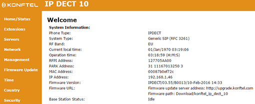 IP DECT 10 web interface - status